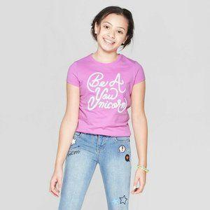 Girls Short Sleeve Be A You-nicorn Print S (6)